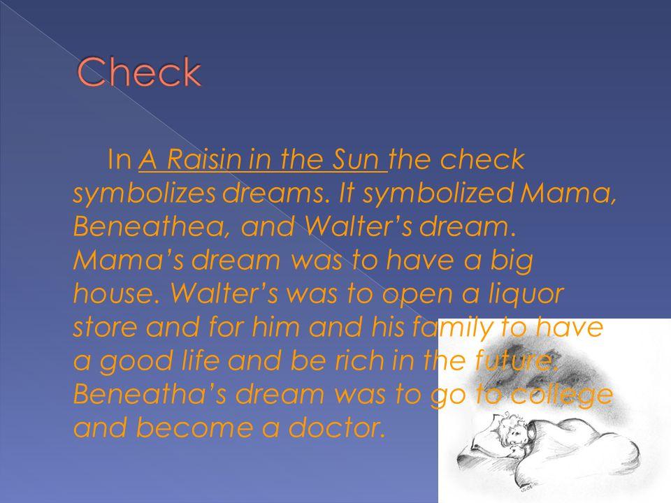 In A Raisin in the Sun the check symbolizes dreams.