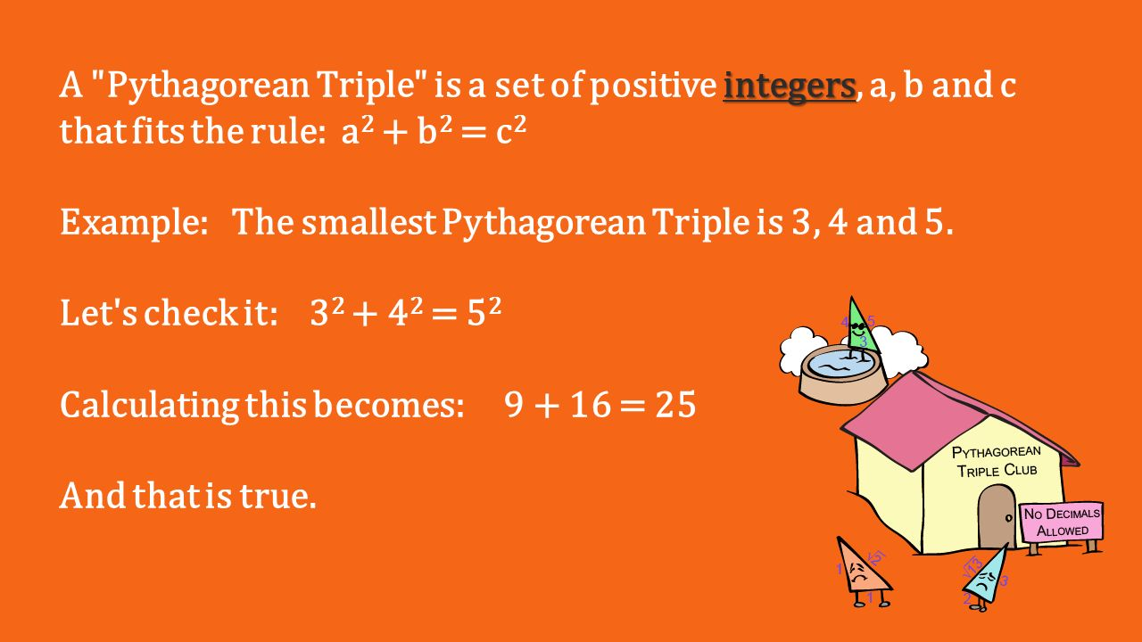 pythagorean triples essay example Read this essay on pythagoras- pythagorean theorem the example of externality cost is the theorem dates back to pythagorean triples found on megalithic.