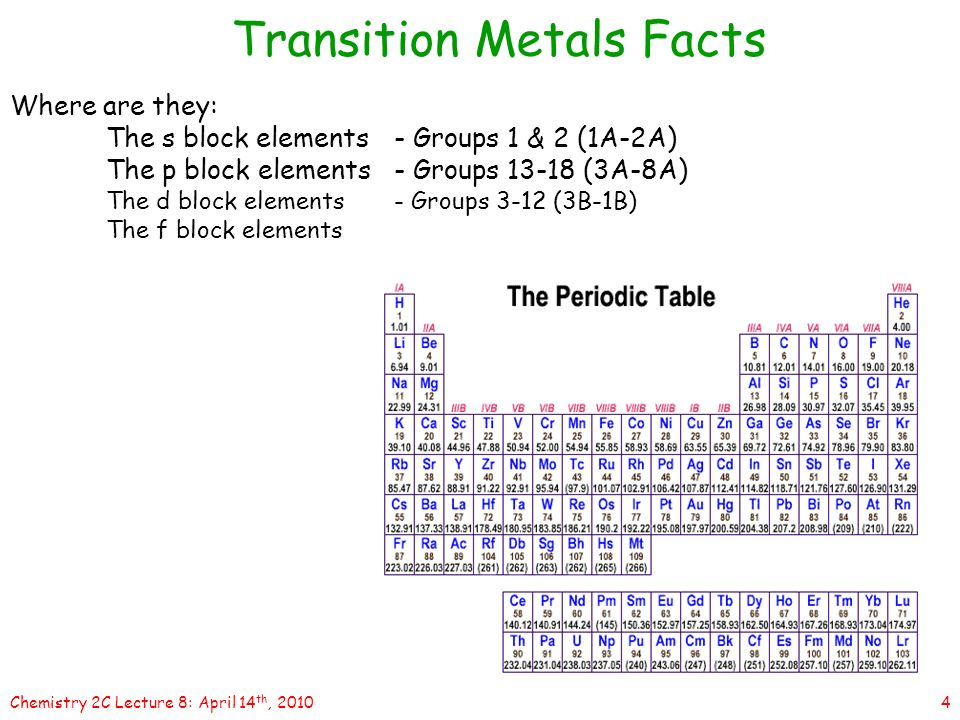 1chemistry 2c lecture 8 april 14 th 2010 lecture 8transition 2010 transition metals facts many of the 4 4chemistry urtaz Choice Image