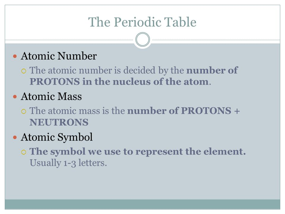 Wait a second isnt this biology class ppt download 21 the periodic table atomic number atomic mass atomic symbol the atomic number is decided by the number of protons in the nucleus of the atom urtaz Choice Image