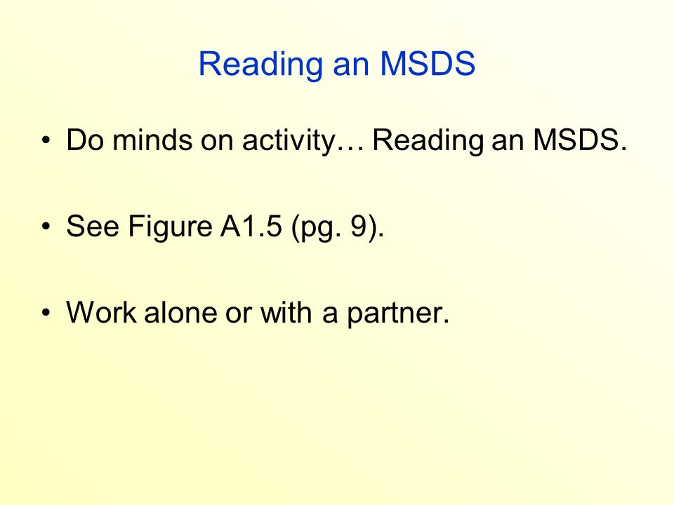 The Plan Learn about lab safety become aware of WHMIS guidelines – Msds Worksheet