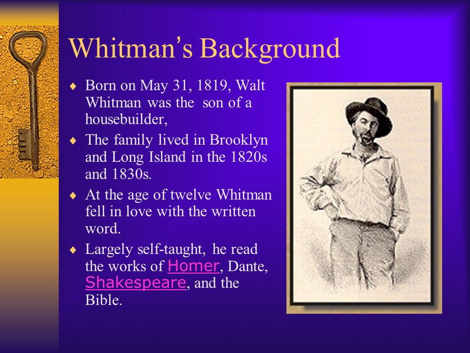 a comparison of the poems of emily dickinson and walt whitman Walt whitman and emily dickinson walt whitman and emily dickinson both had different and similar views, which influenced how they wrote their poetry their social context, life experiences, and gender are reflected in their poetry emily dickinson focused a lot on death and her struggles of being a woman during her time.