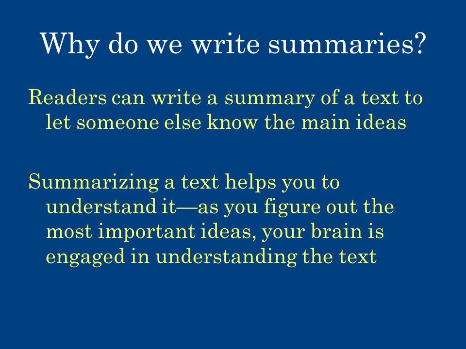 Summary of a text