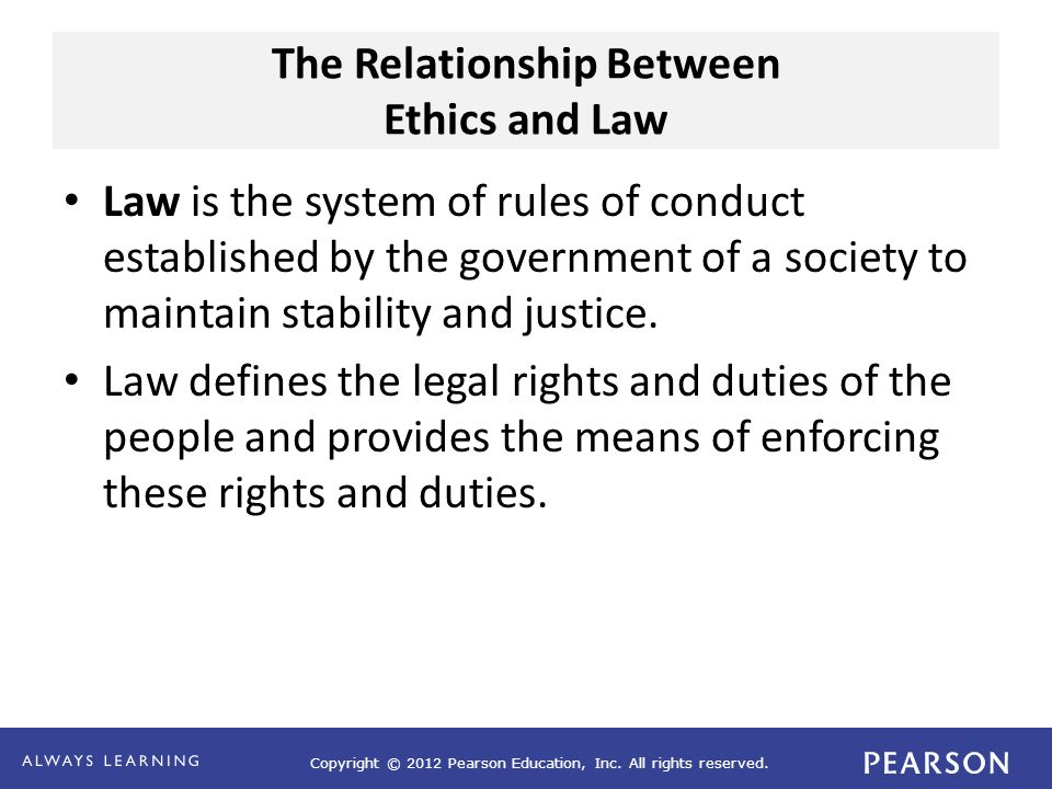 Copyright © 2012 Pearson Education, Inc. All rights reserved. The Relationship Between Ethics and Law Law is the system of rules of conduct establishe
