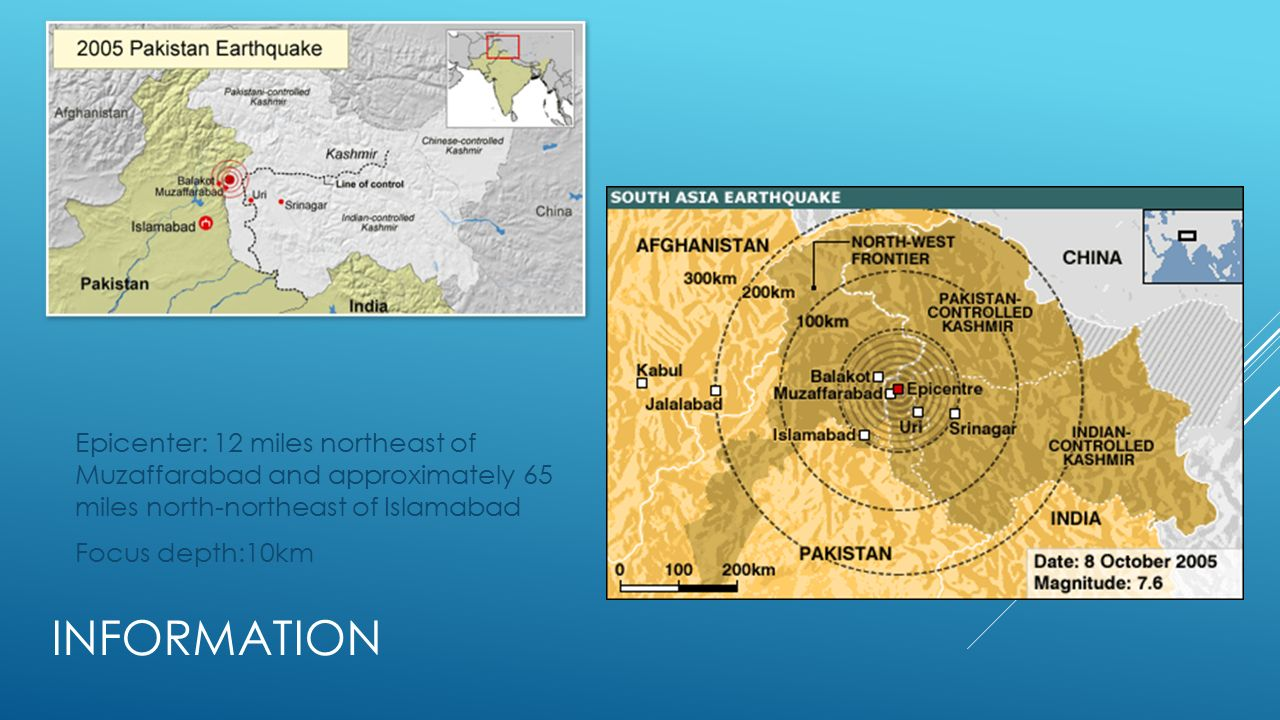 Kashmir pakistan october 8 information epicenter 12 miles 2 information epicenter 12 miles northeast of muzaffarabad and approximately 65 miles north northeast of islamabad focus depth10km publicscrutiny Image collections