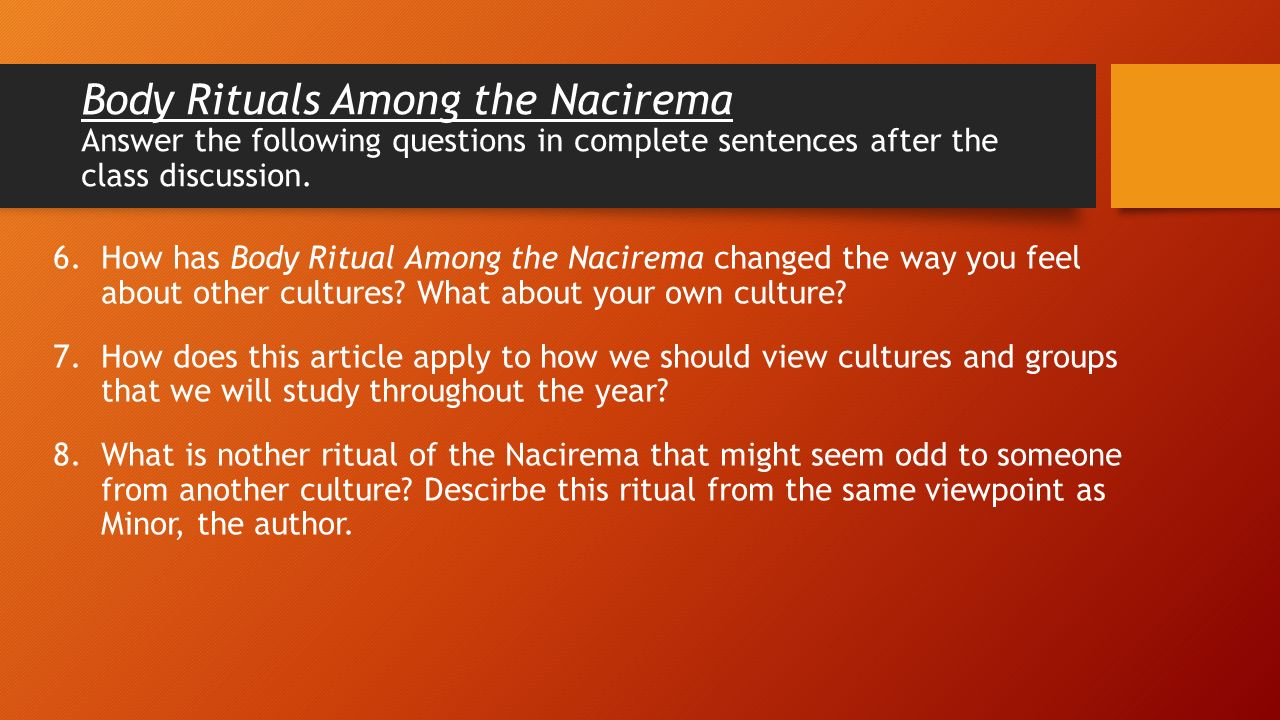 summary of body ritual among the Summary of body ritual among the nacirema according to the article by miner, there is a present in some yet undescribed tribe in the east america called the nacirema the nacirema's culture is a highly developed community and they spend a lot of time with ritual activities.