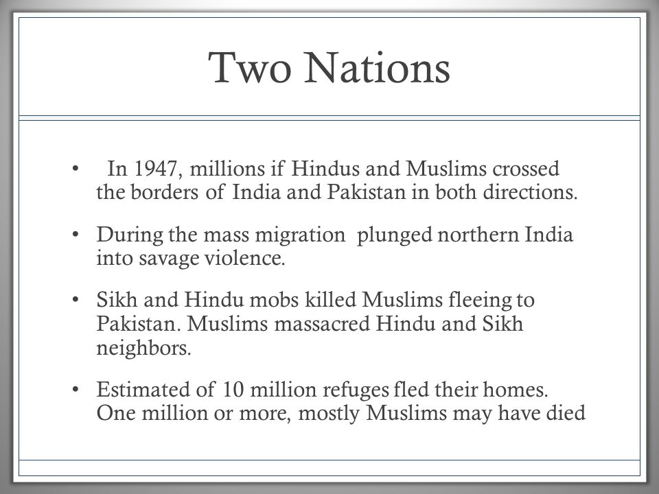 Nations of South Asia Independence and Partition Indian ...