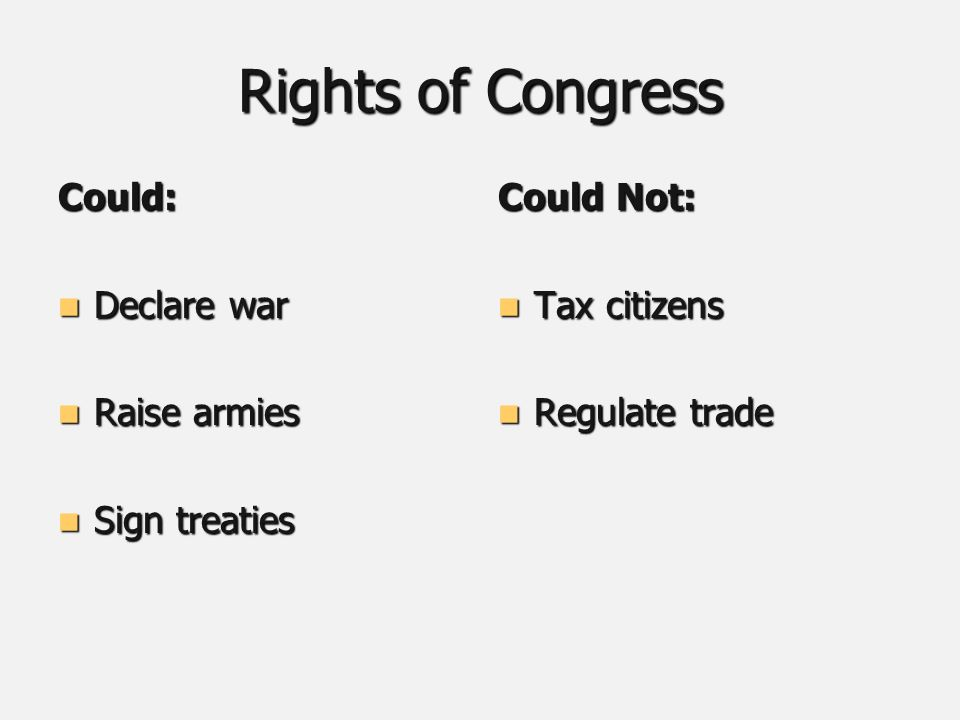 Rights of Congress Could: Declare war Declare war Raise armies Raise armies Sign treaties Sign treaties Could Not: Tax citizens Tax citizens Regulate trade Regulate trade