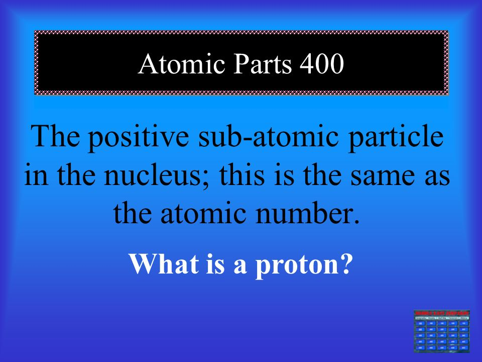 Atomic Parts 300 A negatively charged sub-atomic particle of an atom. What is an electron