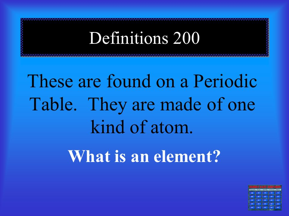 Definitions 100 Anything that has mass and takes up space is called… What is Matter