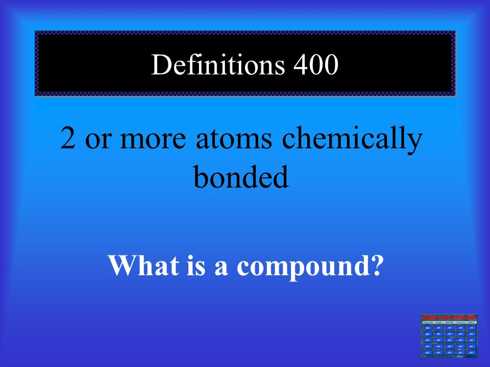 Definitions 300 The number of protons is the same as this number. What is atomic number