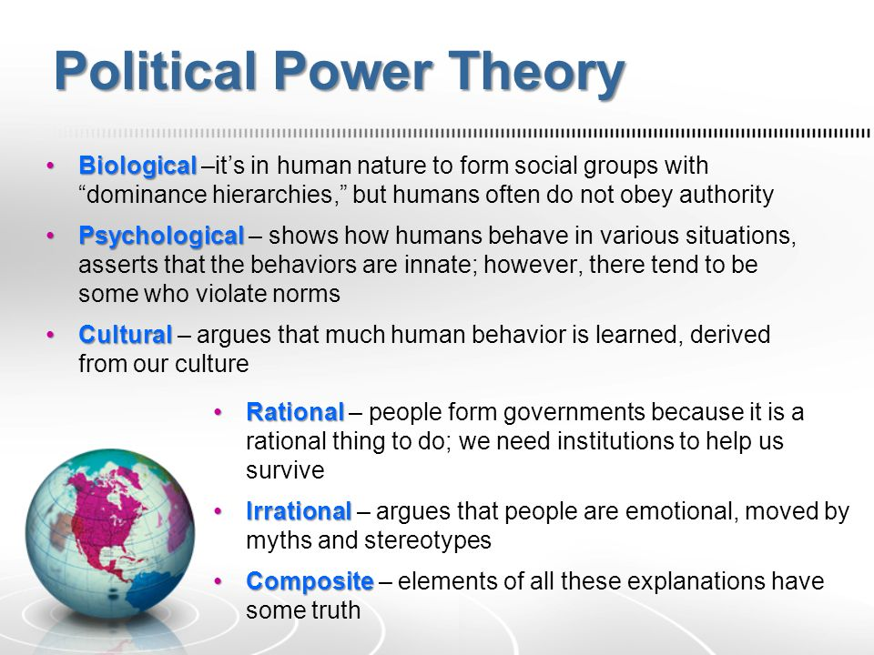 Political Power Theory Biological Biological –it's in human nature to form social groups with dominance hierarchies, but humans often do not obey authority Psychological Psychological – shows how humans behave in various situations, asserts that the behaviors are innate; however, there tend to be some who violate norms Cultural Cultural – argues that much human behavior is learned, derived from our culture Rational Rational – people form governments because it is a rational thing to do; we need institutions to help us survive Irrational Irrational – argues that people are emotional, moved by myths and stereotypes Composite Composite – elements of all these explanations have some truth