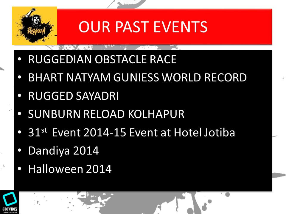event sponsorship proposal. our past events ruggedian obstacle, Powerpoint templates