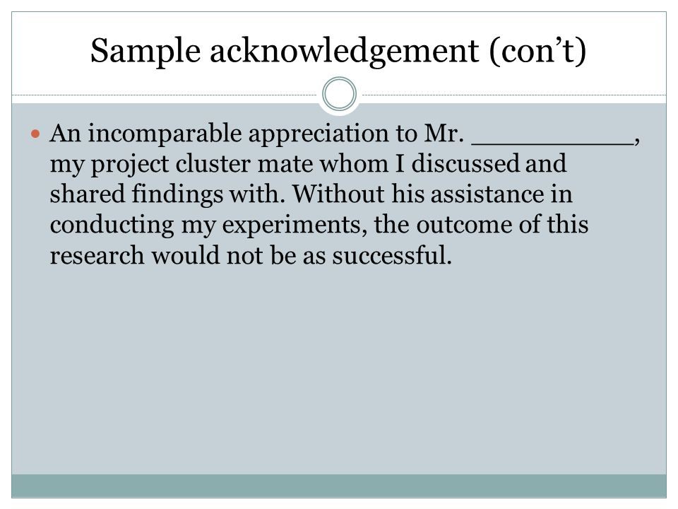 Write my acknowledgements in a dissertation