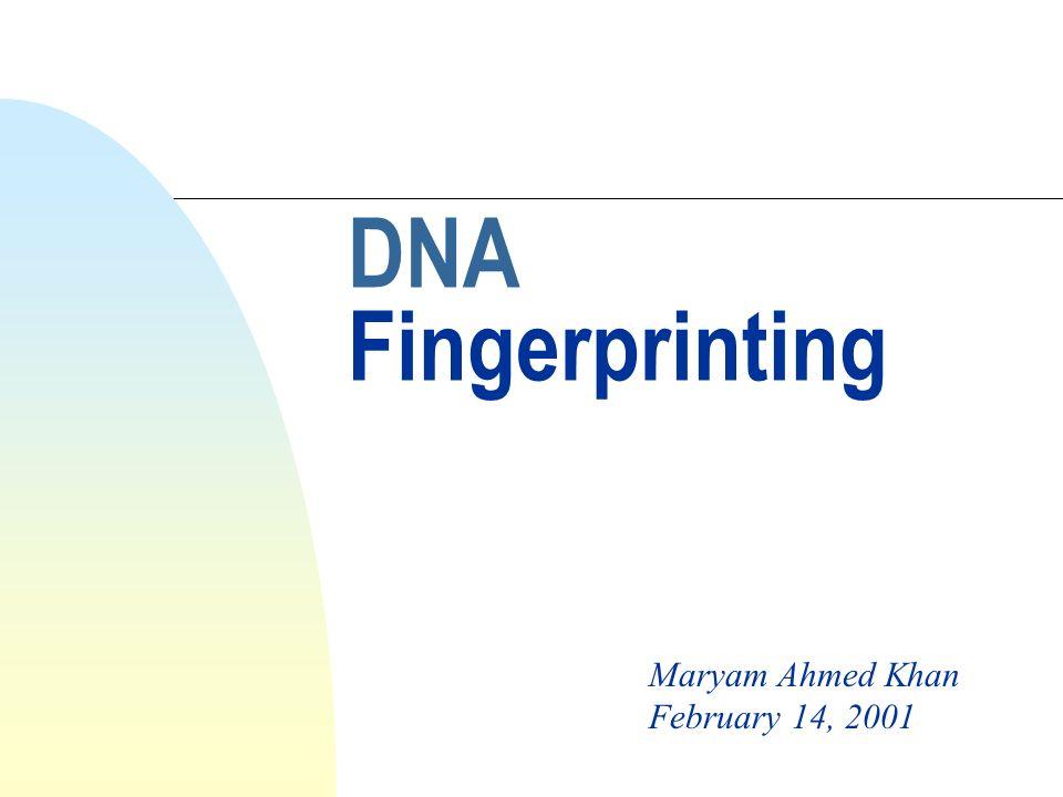 DNA Fingerprinting Maryam Ahmed Khan February 14, 2001