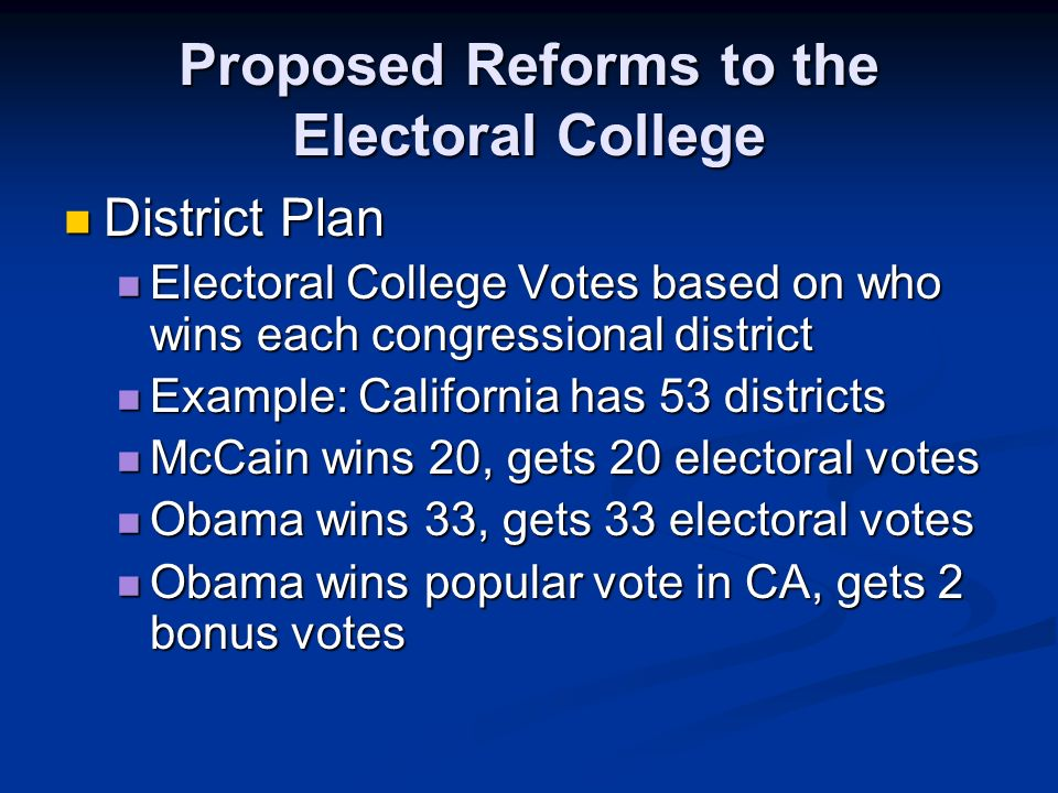 reform of electoral college But the results are already renewing calls for electoral reform the electoral college is a relic that violates the democratic principle of one.