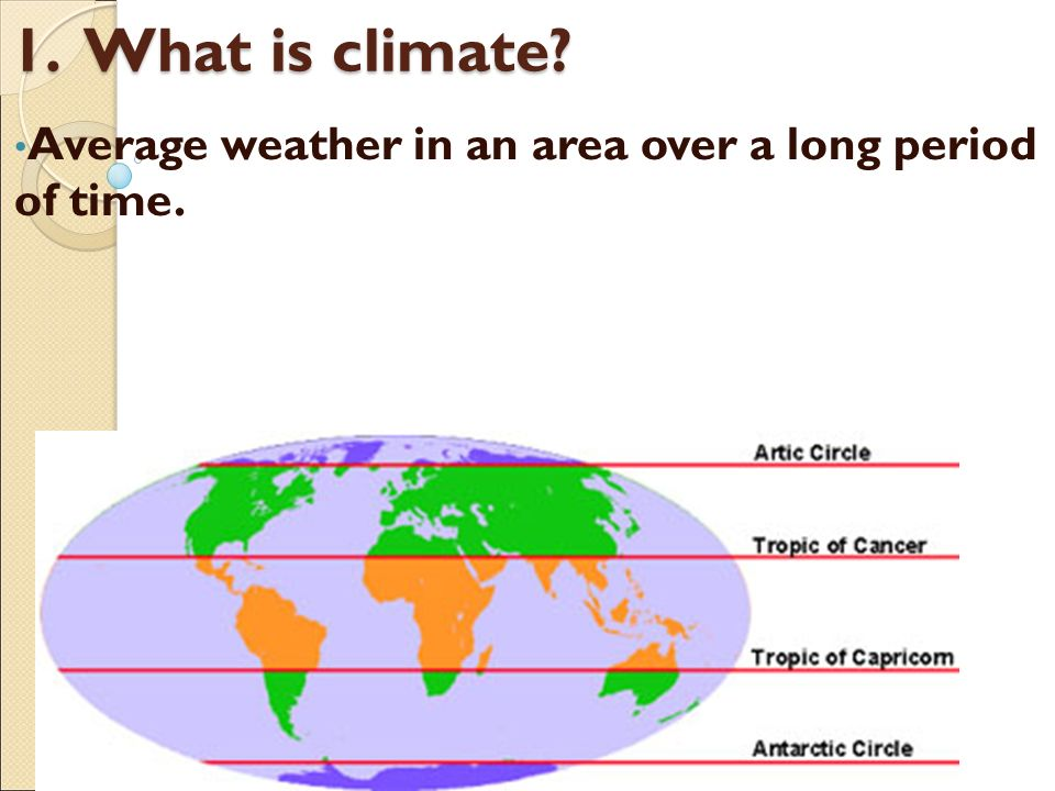 what is climate Climate in a narrow sense is usually defined as the average weather, or more rigorously, as the statistical description in terms of the mean and variability of relevant quantities over a period of time ranging from months to thousands or millions of years.