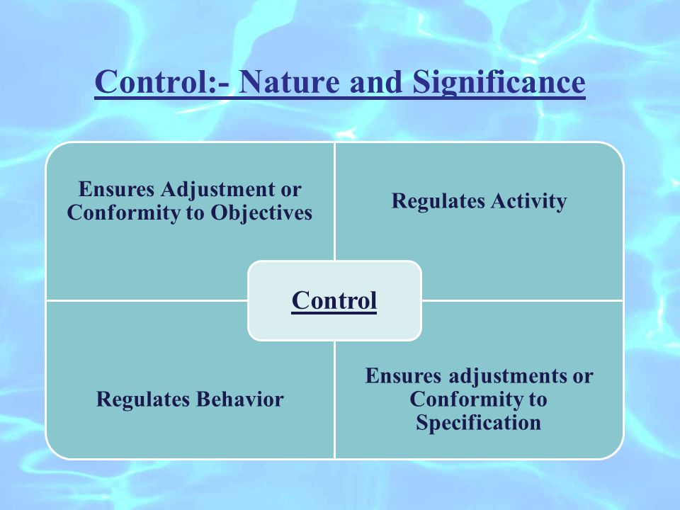 Control:- Nature and Significance Ensures Adjustment or Conformity to Objectives Regulates Activity Regulates Behavior Ensures adjustments or Conformity to Specification Control