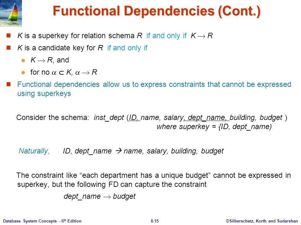 ©Silberschatz, Korth and Sudarshan8.15Database System Concepts - 6 th Edition Functional Dependencies (Cont.) K is a superkey for relation schema R if and only if K  R K is a candidate key for R if and only if K  R, and for no   K,   R Functional dependencies allow us to express constraints that cannot be expressed using superkeys Consider the schema: inst_dept (ID, name, salary, dept_name, building, budget ) where superkey = {ID, dept_name) Naturally, ID, dept_name  name, salary, building, budget The constraint like each department has a unique budget cannot be expressed in superkey, but the following FD can capture the constraint dept_name  budget
