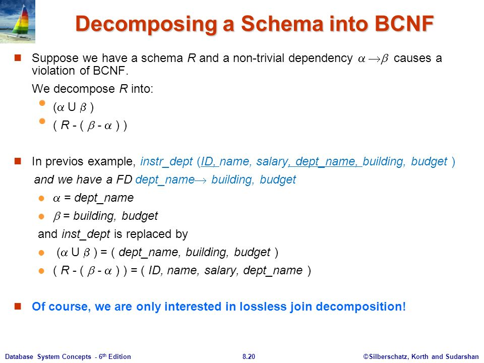 ©Silberschatz, Korth and Sudarshan8.20Database System Concepts - 6 th Edition Decomposing a Schema into BCNF Suppose we have a schema R and a non-trivial dependency    causes a violation of BCNF.