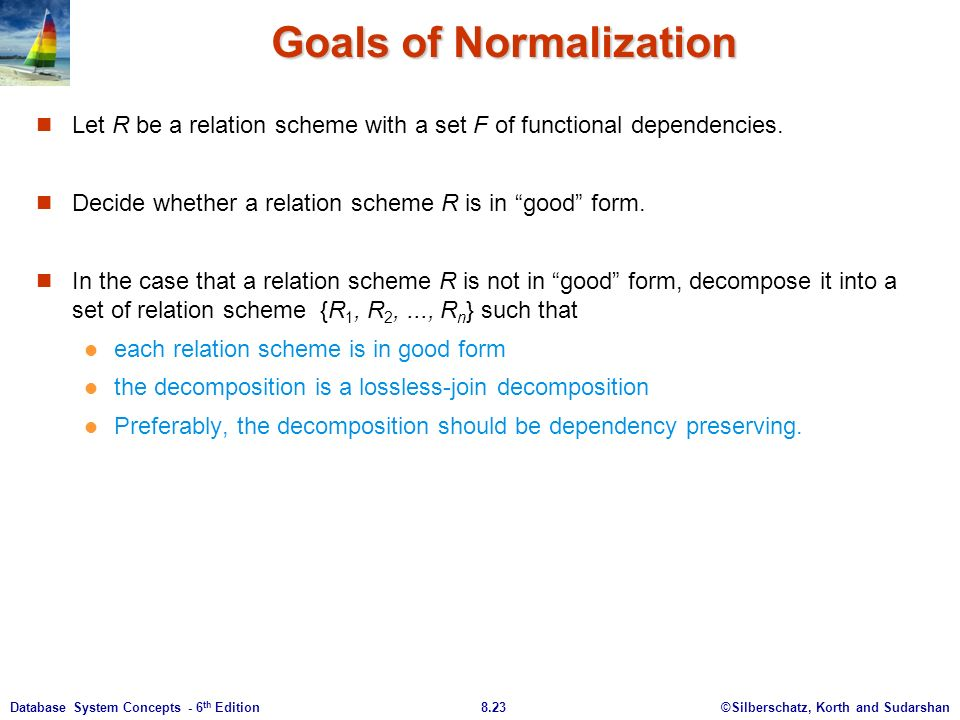 ©Silberschatz, Korth and Sudarshan8.23Database System Concepts - 6 th Edition Goals of Normalization Let R be a relation scheme with a set F of functional dependencies.