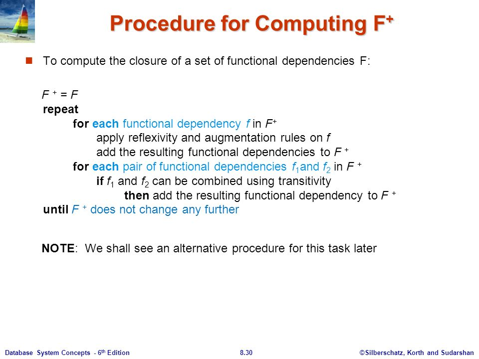 ©Silberschatz, Korth and Sudarshan8.30Database System Concepts - 6 th Edition Procedure for Computing F + To compute the closure of a set of functional dependencies F: F + = F repeat for each functional dependency f in F + apply reflexivity and augmentation rules on f add the resulting functional dependencies to F + for each pair of functional dependencies f 1 and f 2 in F + if f 1 and f 2 can be combined using transitivity then add the resulting functional dependency to F + until F + does not change any further NOTE: We shall see an alternative procedure for this task later