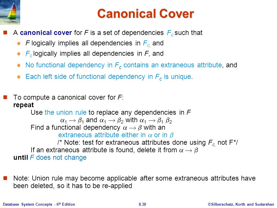 ©Silberschatz, Korth and Sudarshan8.38Database System Concepts - 6 th Edition Canonical Cover A canonical cover for F is a set of dependencies F c such that F logically implies all dependencies in F c, and F c logically implies all dependencies in F, and No functional dependency in F c contains an extraneous attribute, and Each left side of functional dependency in F c is unique.