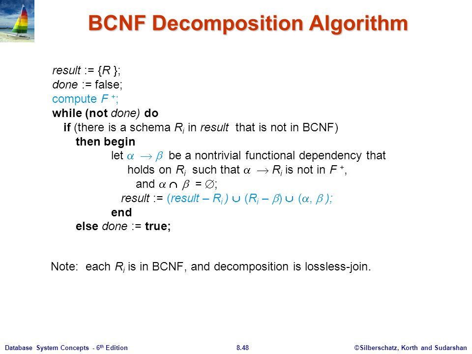 ©Silberschatz, Korth and Sudarshan8.48Database System Concepts - 6 th Edition BCNF Decomposition Algorithm result := {R }; done := false; compute F + ; while (not done) do if (there is a schema R i in result that is not in BCNF) then begin let     be a nontrivial functional dependency that holds on R i such that    R i is not in F +, and    =  ; result := (result – R i )  (R i –  )  ( ,  ); end else done := true; Note: each R i is in BCNF, and decomposition is lossless-join.
