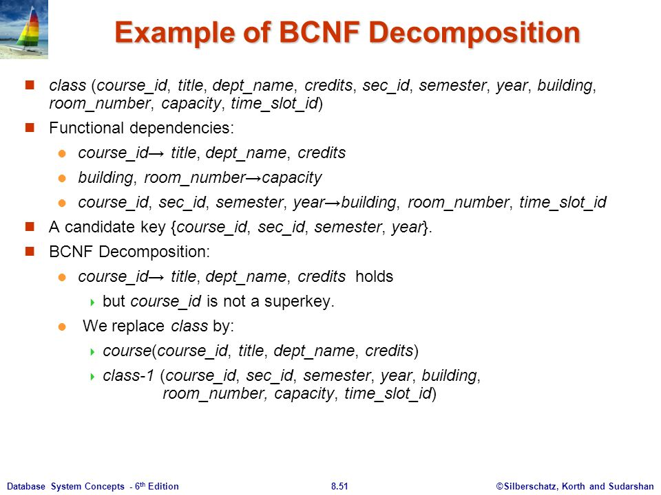 ©Silberschatz, Korth and Sudarshan8.51Database System Concepts - 6 th Edition Example of BCNF Decomposition class (course_id, title, dept_name, credits, sec_id, semester, year, building, room_number, capacity, time_slot_id) Functional dependencies: course_id→ title, dept_name, credits building, room_number→capacity course_id, sec_id, semester, year→building, room_number, time_slot_id A candidate key {course_id, sec_id, semester, year}.