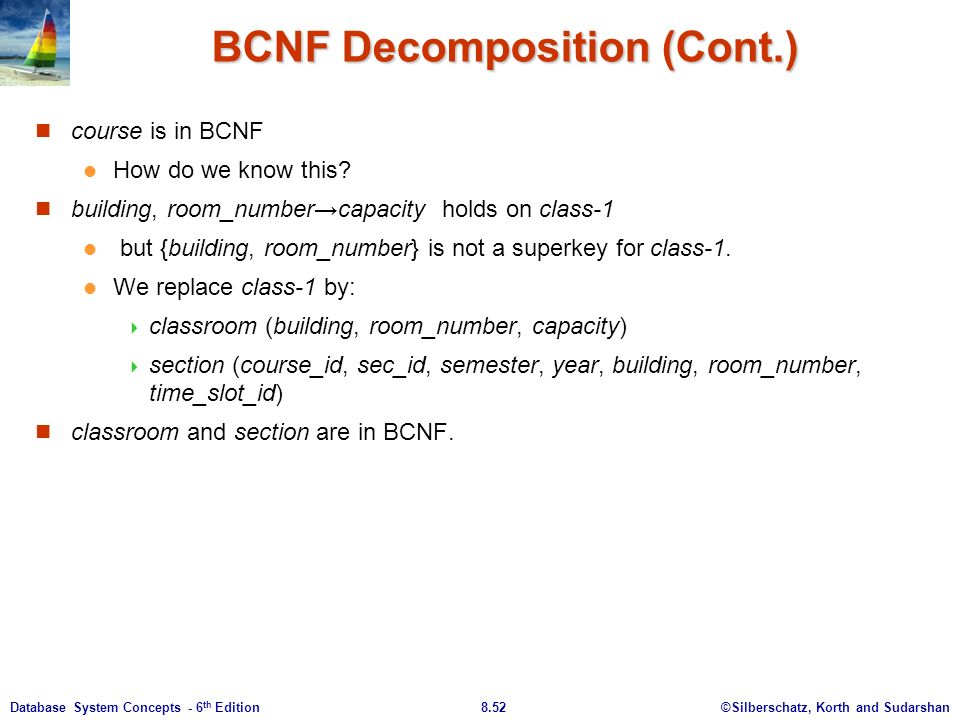 ©Silberschatz, Korth and Sudarshan8.52Database System Concepts - 6 th Edition BCNF Decomposition (Cont.) course is in BCNF How do we know this.