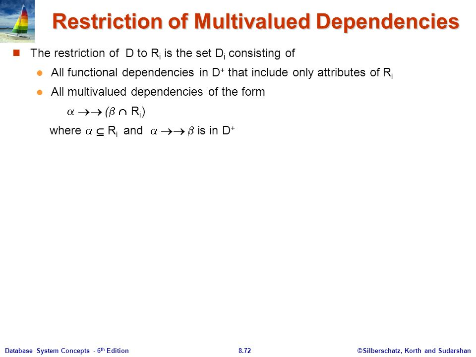 ©Silberschatz, Korth and Sudarshan8.72Database System Concepts - 6 th Edition Restriction of Multivalued Dependencies The restriction of D to R i is the set D i consisting of All functional dependencies in D + that include only attributes of R i All multivalued dependencies of the form   (   R i ) where   R i and    is in D +