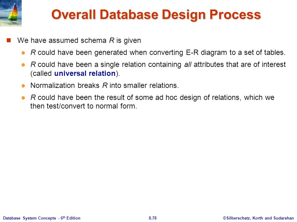 ©Silberschatz, Korth and Sudarshan8.78Database System Concepts - 6 th Edition Overall Database Design Process We have assumed schema R is given R could have been generated when converting E-R diagram to a set of tables.