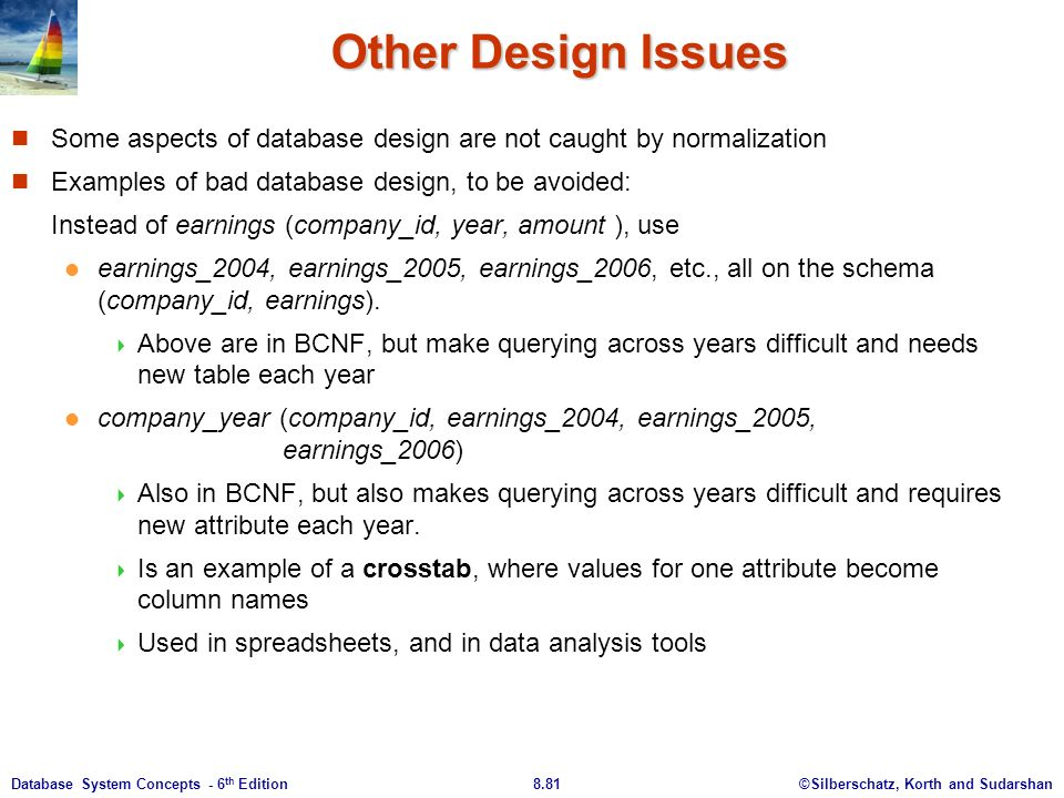 ©Silberschatz, Korth and Sudarshan8.81Database System Concepts - 6 th Edition Other Design Issues Some aspects of database design are not caught by normalization Examples of bad database design, to be avoided: Instead of earnings (company_id, year, amount ), use earnings_2004, earnings_2005, earnings_2006, etc., all on the schema (company_id, earnings).