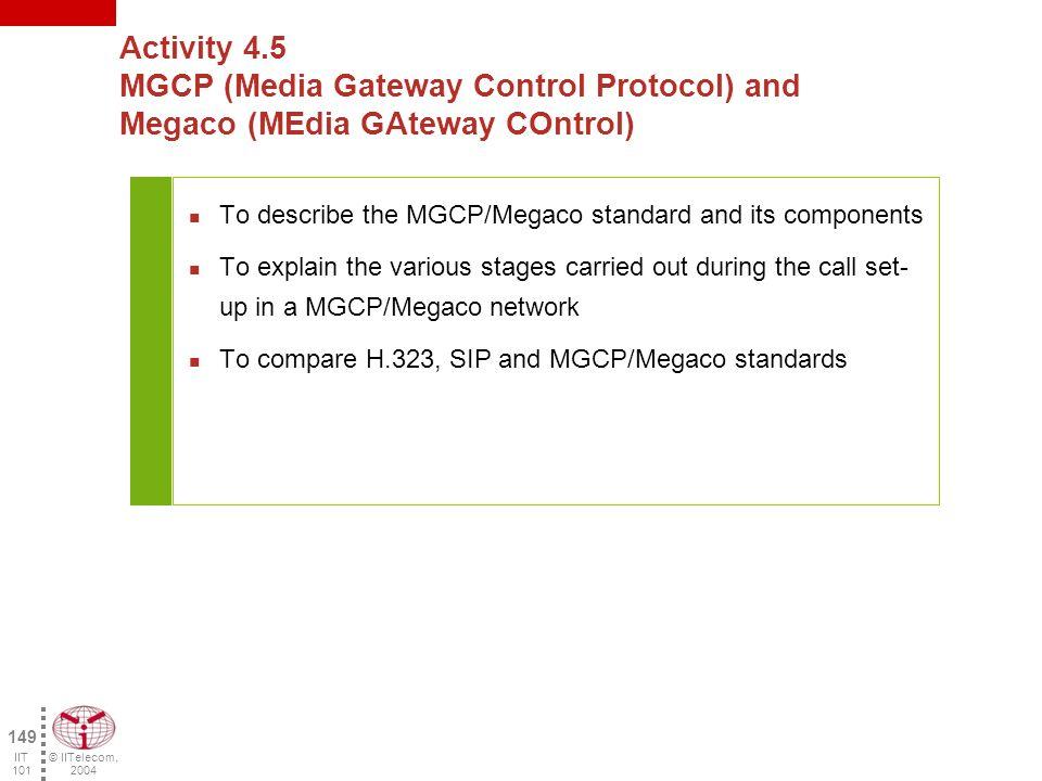 © IITelecom, 2004 148 IIT 101 Laboratory activity 4.4 Analysis of the SIP protocol.