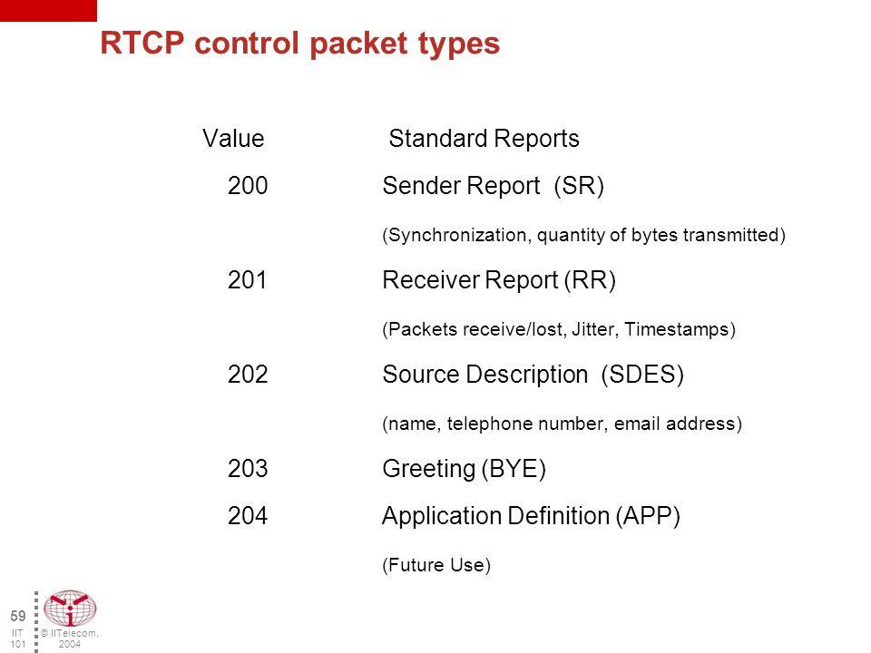 © IITelecom, 2004 58 IIT 101 RTCP header description 1 2 3 4 5 6 7 8 bits Reception report number P Length Ver Packet Type