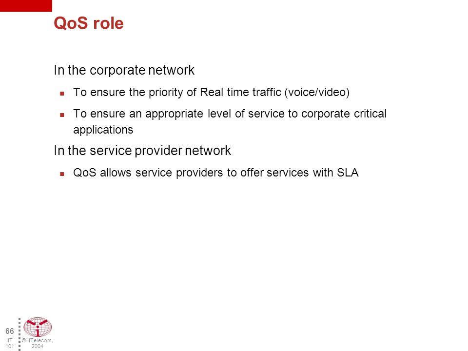 © IITelecom, 2004 65 IIT 101 What is QoS.