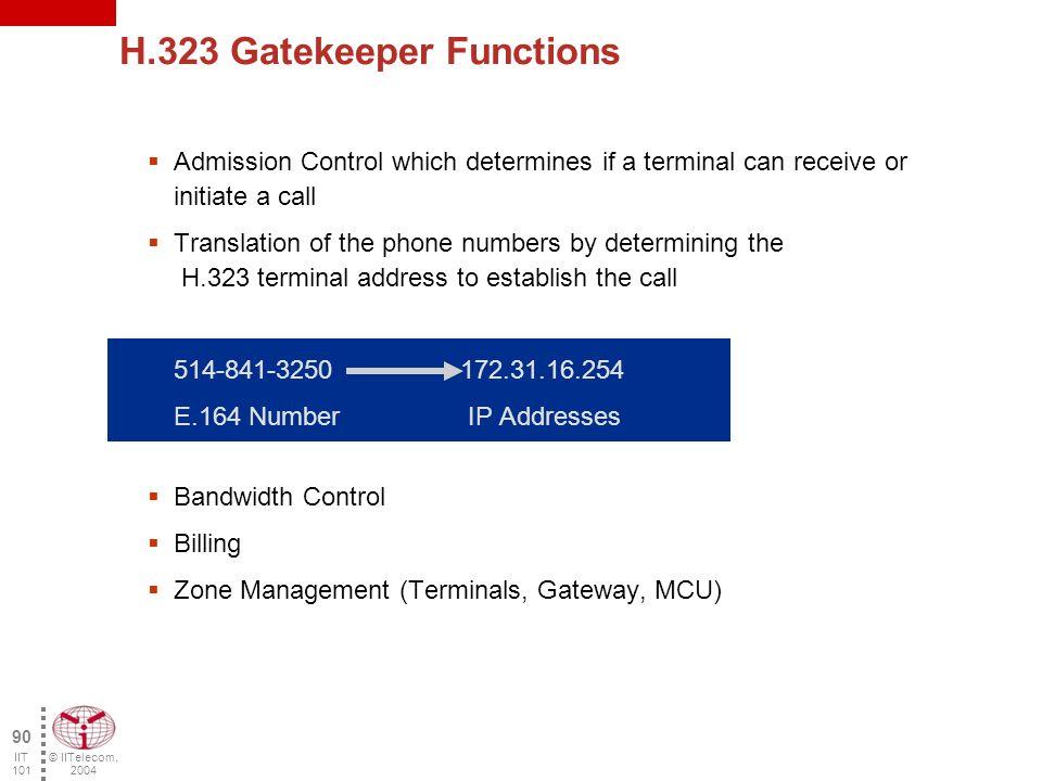© IITelecom, 2004 89 IIT 101 MCU Gatekeeper Gateway Terminal Gatekeeper: the brain of the H.323 network.
