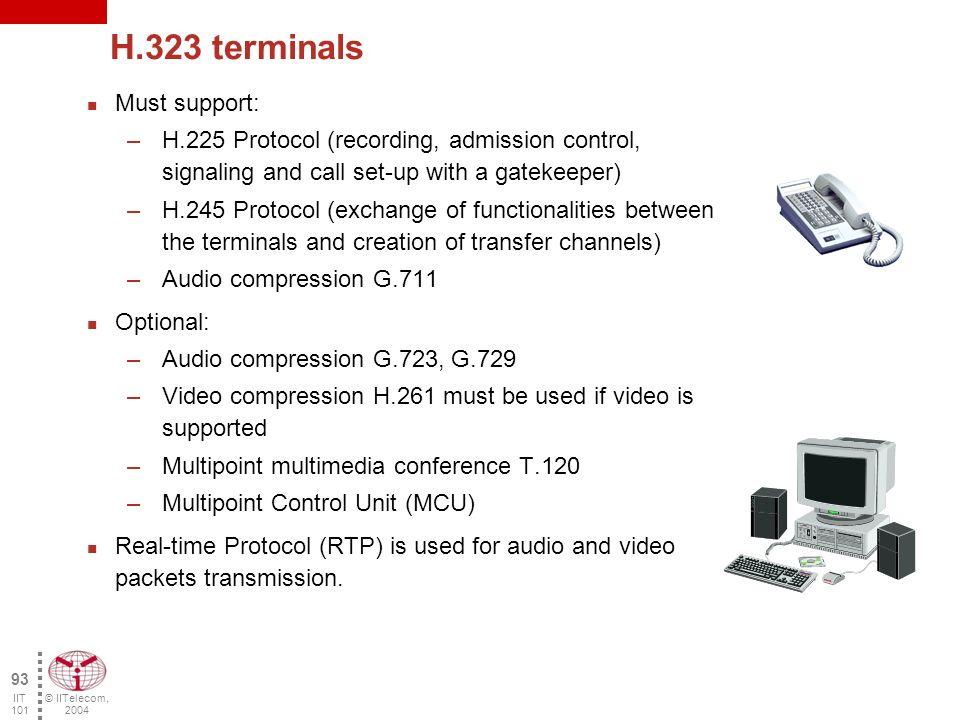 © IITelecom, 2004 92 IIT 101 H.323 zone Gatekeeper 1 Zone 2 Zone 1 Gatekeeper 2