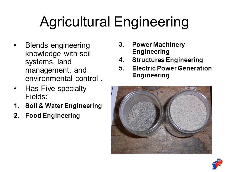 Agricultural Engineering Blends engineering knowledge with soil systems, land management, and environmental control.