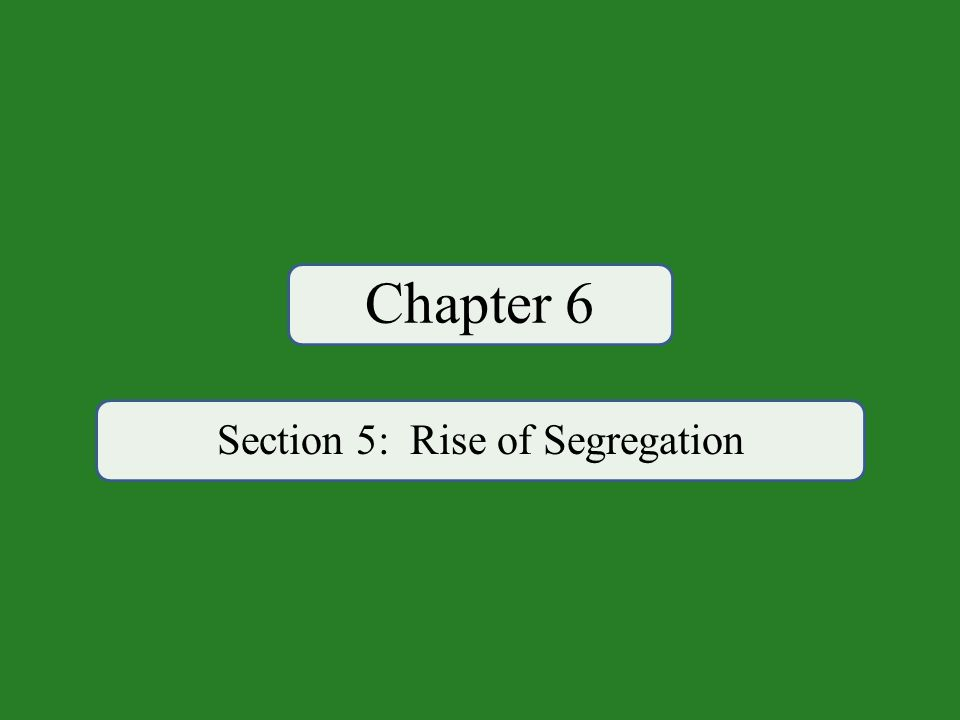 Chapter 6 Section 5: Rise of Segregation