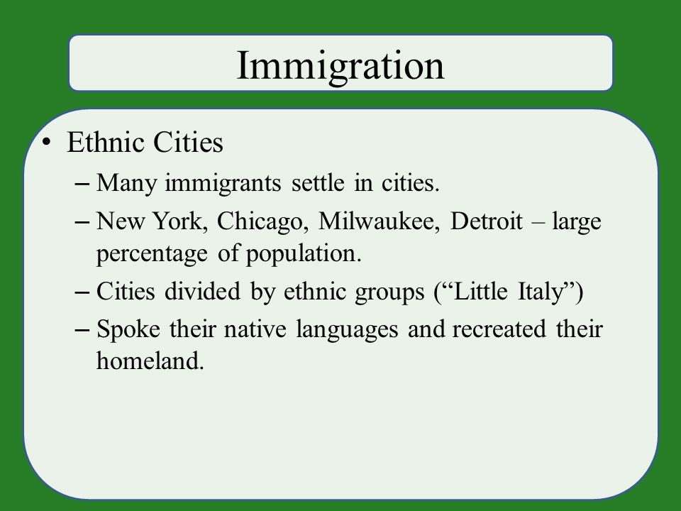 Immigration Ethnic Cities – Many immigrants settle in cities.