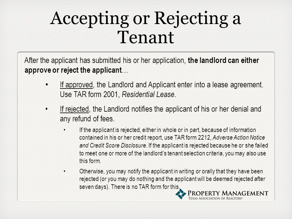 The tenant application process presented by abby lee senior accepting or rejecting a tenant after the applicant has submitted his or her application the reheart Choice Image