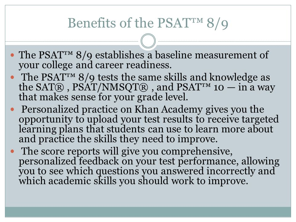 PARENT NIGHT 2016 PSAT 8/9. College Readiness Benchmarks You'll ...