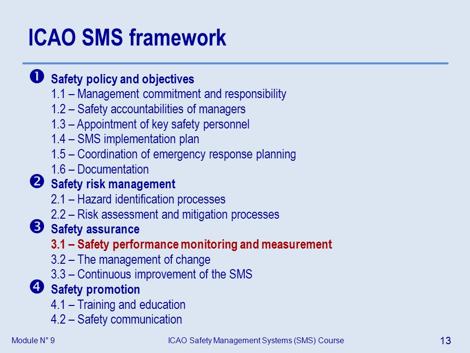 Module N° 9ICAO Safety Management Systems (SMS) Course 13 ICAO SMS framework  Safety policy and objectives 1.1 – Management commitment and responsibility 1.2 – Safety accountabilities of managers 1.3 – Appointment of key safety personnel 1.4 – SMS implementation plan 1.5 – Coordination of emergency response planning 1.6 – Documentation  Safety risk management 2.1 – Hazard identification processes 2.2 – Risk assessment and mitigation processes  Safety assurance 3.1 – Safety performance monitoring and measurement 3.2 – The management of change 3.3 – Continuous improvement of the SMS  Safety promotion 4.1 – Training and education 4.2 – Safety communication