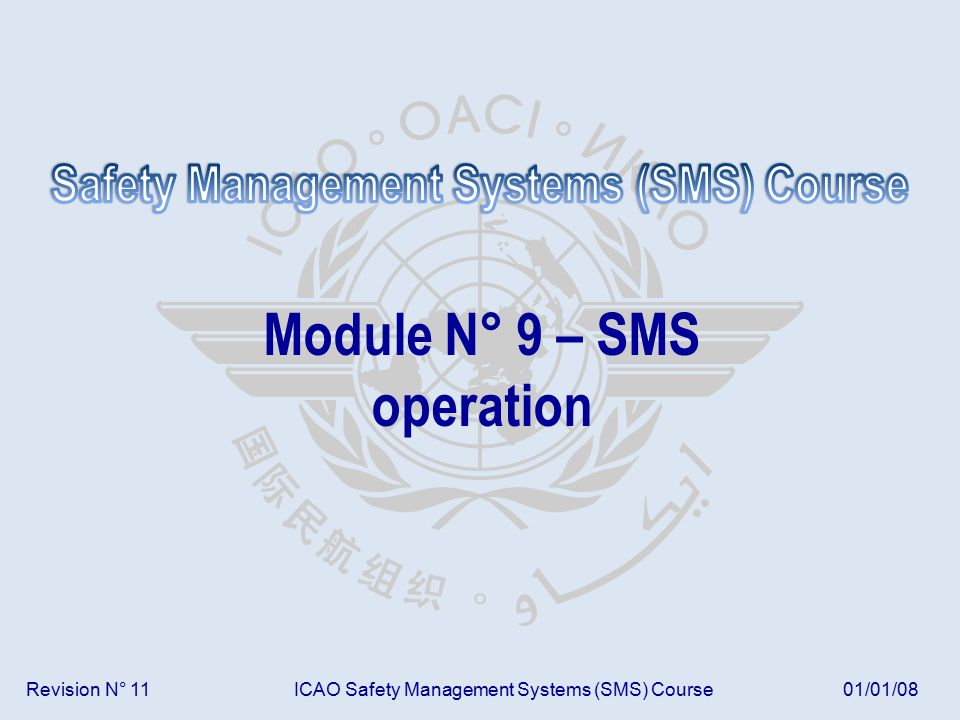Revision N° 11ICAO Safety Management Systems (SMS) Course01/01/08 Module N° 9 – SMS operation