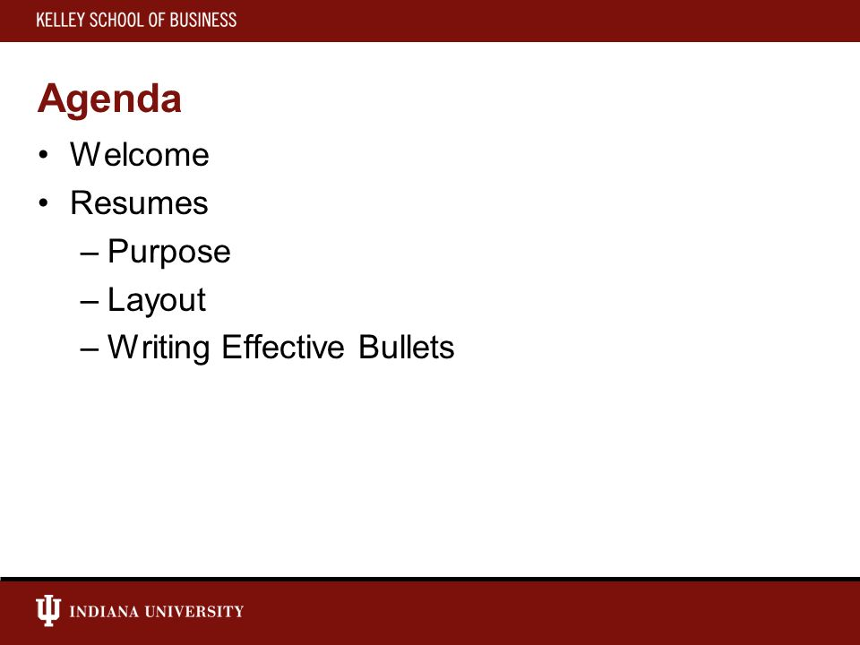 2 Agenda Welcome Resumes Purpose Layout Writing Effective Bullets