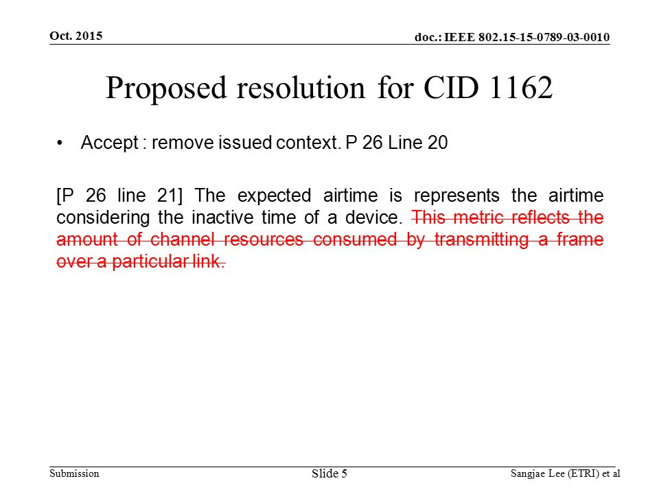 doc.: IEEE Submission Proposed resolution for CID 1162 Accept : remove issued context.