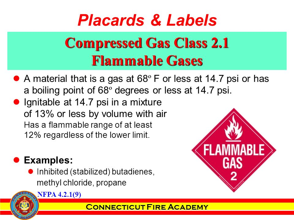 Connecticut Fire Academy Compressed Gas Class 2.1 Flammable Gases A material that is a gas at 68 º F or less at 14.7 psi or has a boiling point of 68 º degrees or less at 14.7 psi.