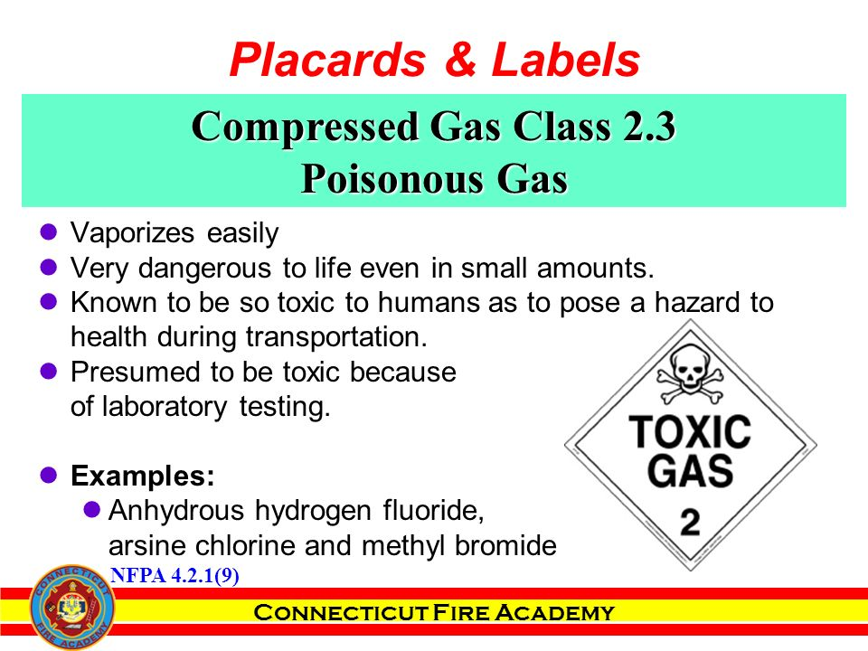 Connecticut Fire Academy Compressed Gas Class 2.3 Poisonous Gas Vaporizes easily Very dangerous to life even in small amounts.
