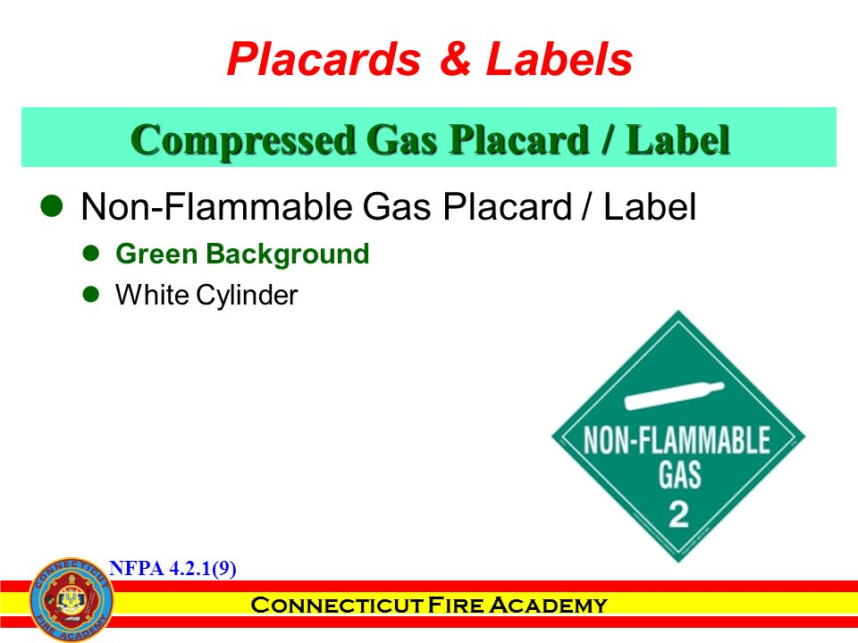 Connecticut Fire Academy Compressed Gas Placard / Label Non-Flammable Gas Placard / Label Green Background White Cylinder NFPA 4.2.1(9) Placards & Labels